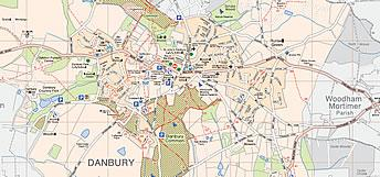 Map showing footpaths in Danbury. Click to view or download